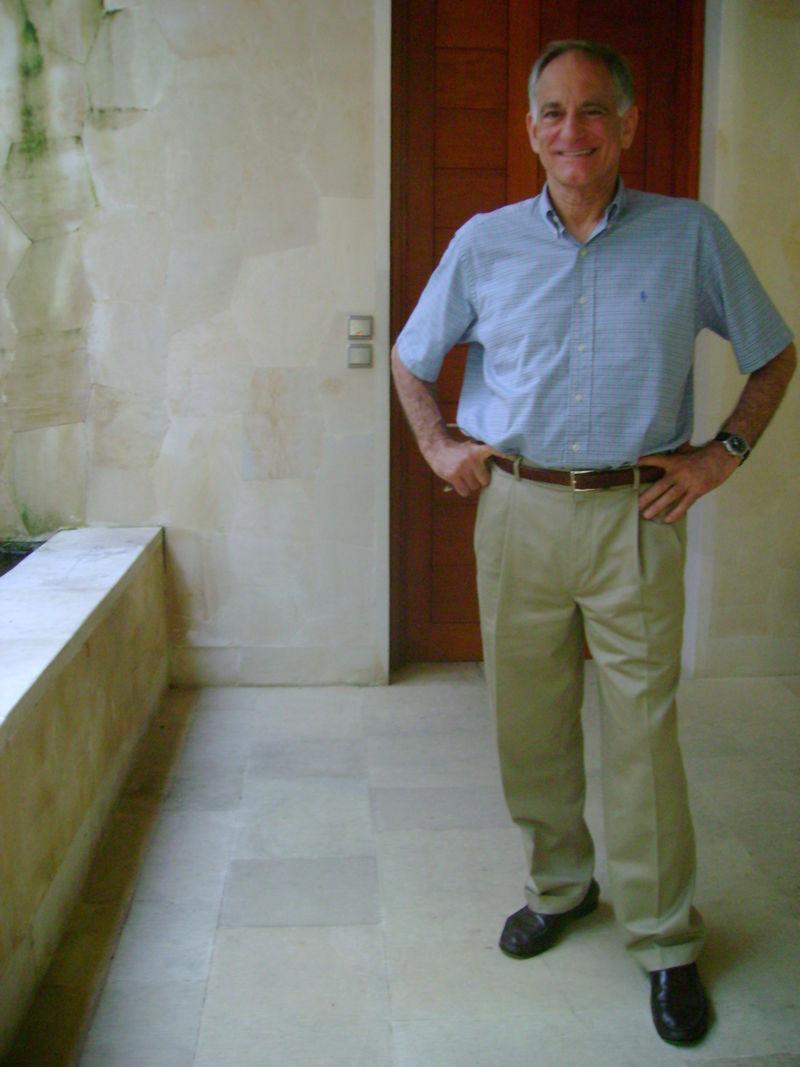 John Berendt outside villa