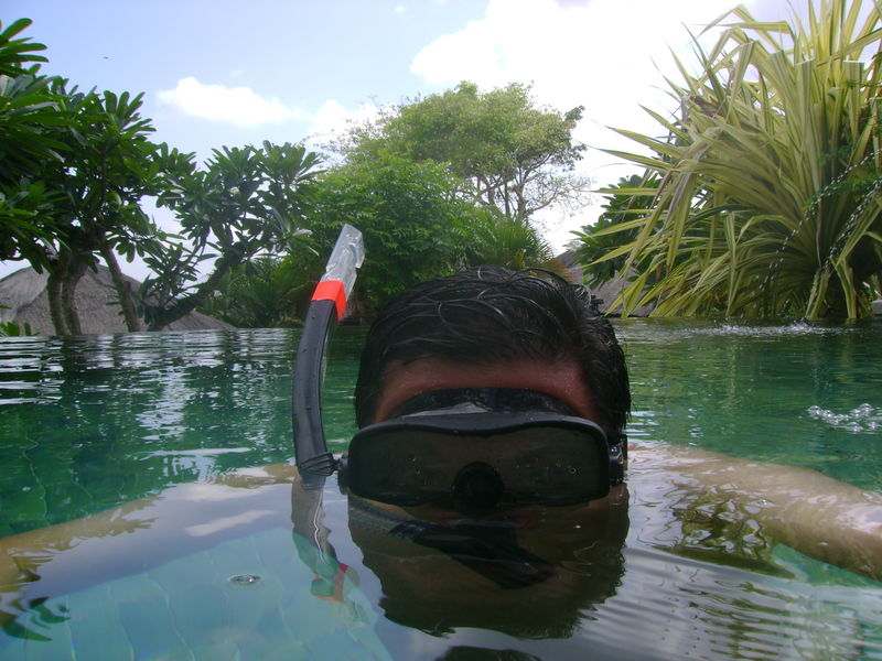 Snorkelling in own pool