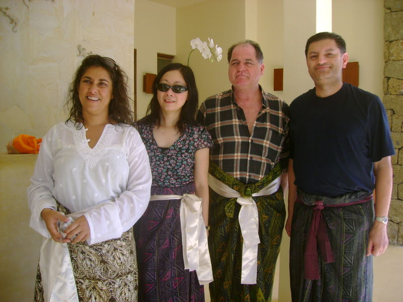 Four writers in sarongs