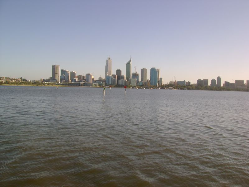 View of city across river