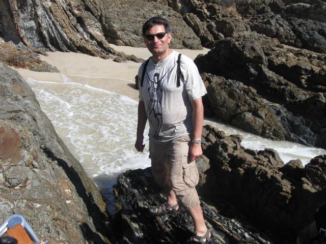 Rock climbing on beach